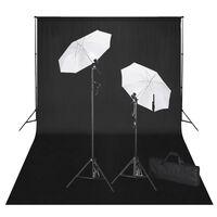 vidaXL Studijski komplet s črnim ozadjem 600 x 300 cm in luči
