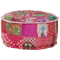 vidaXL Tabure večbarven okrogel, bombaž, ročno izdelan 40x20 cm roza