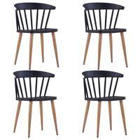 vidaXL Jedilni stoli 4 kosi črna plastika