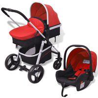 vidaXL Otroški voziček 3 v 1 aluminijast rdeče in črne barve