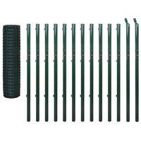 vidaXL Evro ograja iz jekla 25x1,7 m zelena