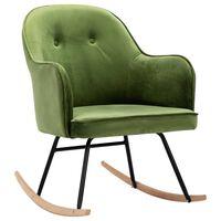 vidaXL Gugalni stol svetlo zelen žamet