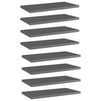 vidaXL Dodatne police za omaro 8 kosov visok sijaj sive 40x20x1,5 cm
