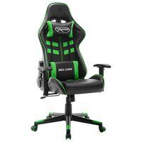 vidaXL Gaming stol črno in zeleno umetno usnje