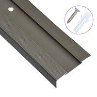 vidaXL Obrobe za stopnice L-oblike 15 kosov aluminij 134 cm rjave