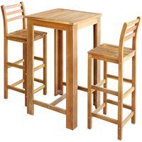 vidaXL Barska miza in stoli 3 kosi trden akacijev les