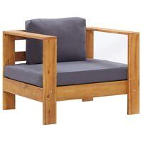 vidaXL Vrtni stol z blazino temno siv trden akacijev les