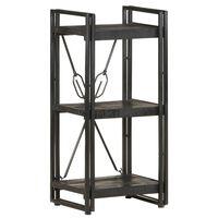 vidaXL Knjižna omara 3-nadstropna črna 40x30x80 cm trden mangov les