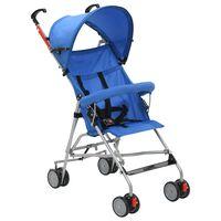 vidaXL Zložljiv otroški voziček jeklen moder