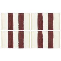 vidaXL Pogrinjki 4 kosi Chindi črte bordo in beli 30x45 cm