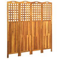 vidaXL Paravan 4-delni 161x2x170 cm trden akacijev les
