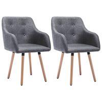 vidaXL Jedilni stoli 2 kosa svetlo sivo blago
