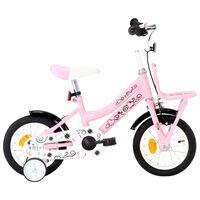 """vidaXL Otroško kolo s prednjim prtljažnikom 12"""" belo in roza"""