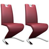 vidaXL Jedilni stoli cikcak oblike 2 kosa vinsko rdeče umetno usnje