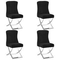 vidaXL Jedilni stoli 4 kosi črni 53x52x98 cm žamet in nerjaveče jeklo
