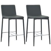 vidaXL Barski stolčki 2 kosa sivo umetno usnje