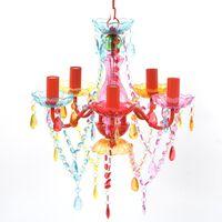 RAZNOBARVEN Kristalni Lestenec 5 žarnic