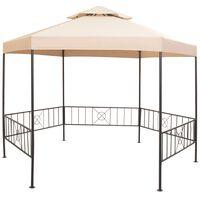 vidaXL Vrtni šotor / paviljon šestkoten bež 323x265 cm