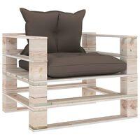 vidaXL Vrtni kavč iz palet s taupe blazinami borovina