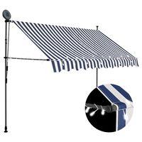 vidaXL Ročno zložljiva tenda z LED lučmi 250 cm modra in bela