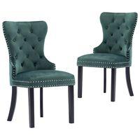 vidaXL Jedilni stoli 2 kosa temno zelen žamet