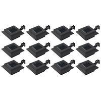vidaXL Zunanje solarne svetilke 12 kosov LED kvadratne 12 cm črne