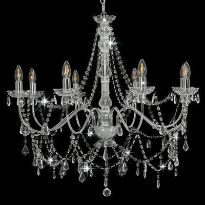 vidaXL Lestenec s kroglicami srebrn 8 x E14 žarnice