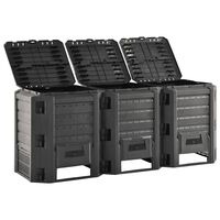 vidaXL Vrtni kompostnik črn 1200 L