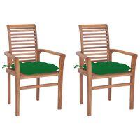 vidaXL Jedilni stoli 2 kosa z zelenimi blazinami trdna tikovina