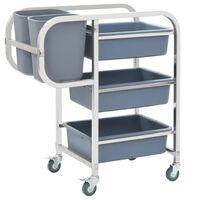 vidaXL Kuhinjski voziček s plastičnimi posodami 87x43,5x92 cm
