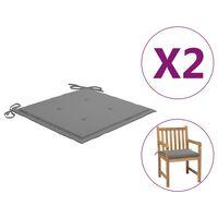 vidaXL Blazine za vrtne stole 2 kosa sive 50x50x4 cm
