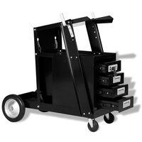 vidaXL Varilni voziček s 4 predali črne barve