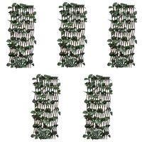 vidaXL Mrežasta ograja iz vrbe 5 kosov z umetnimi listi 180x60 cm