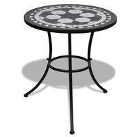 vidaXL Bistro miza črna in bela 60 cm mozaik