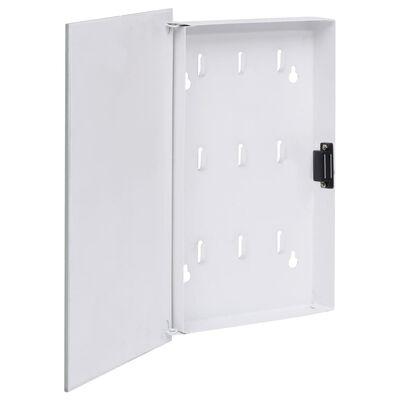 vidaXL Omarica za ključe z magnetno tablo bela 30x20x5,5 cm