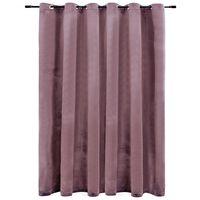vidaXL Zatemnitvena zavesa z obročki žametna starinsko roza 290x245 cm