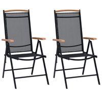 vidaXL Zložljivi vrtni stoli 4 kosi aluminij in tekstil črne barve