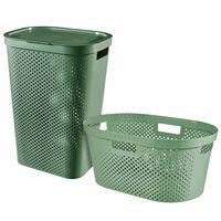 Curver Komplet košare in koša za perilo Infinity 40L + 60L zelen