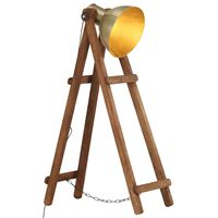 vidaXL Stoječa svetilka medeninasta E27 trden mangov les