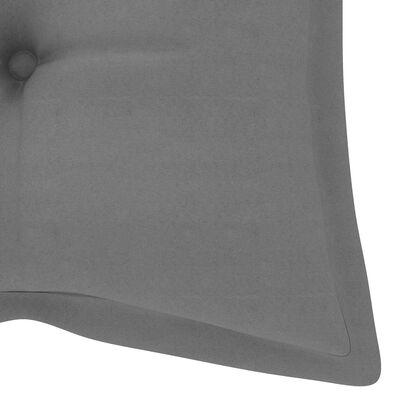 vidaXL Gugalna klop s sivo blazino 120 cm trdna tikovina