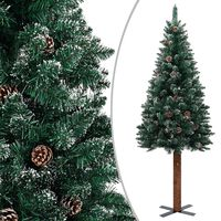 vidaXL Ozka novoletna jelka pravi les in beli sneg zelena 180 cm
