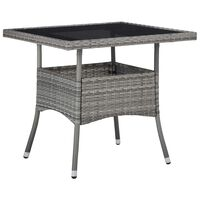 vidaXL Zunanja jedilna miza siv poli ratan in steklo