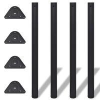 4 Noge za Mizo Nastavljiva Višina Črne Barve 870 mm