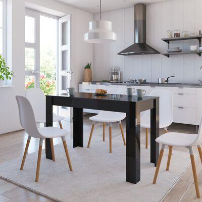 vidaXL Jedilna miza visok sijaj črna 120x60x76 cm iverna plošča