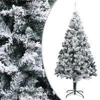 vidaXL Umetna novoletna jelka s snegom zelena 210 cm PVC