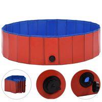 vidaXL Zložljiv bazen za pse rdeč 120x30 cm PVC