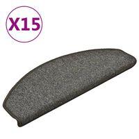 vidaXL Preproge za stopnice 15 kosov temno sive 65x24x4 cm