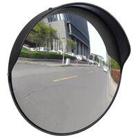 Konveksno prometno ogledalo iz PC plastike črno 30 cm zunanje