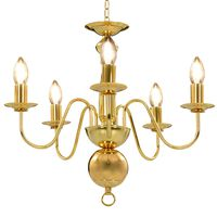 vidaXL Lestenec zlat 5 x E14 žarnice