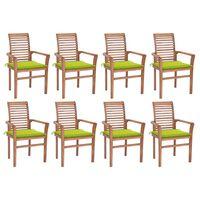 vidaXL Jedilni stoli 8 kosov s svetlo zelenimi blazinami tikovina